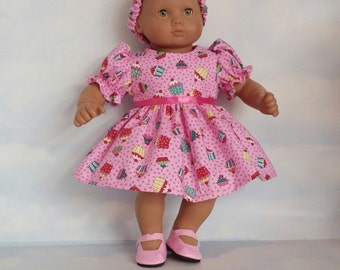 15 inch doll clothes =- Pink Cupcake Outfit handmade to fit the Bitty Baby doll - FREE SHIPPING