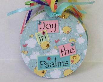 Joy In The Psalms, Altered Album, CD Album, Handmade Gift, Flowers, Clouds, KJV Scripture.
