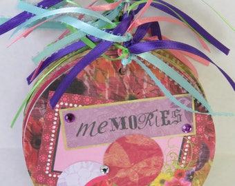 Memories, Altered Album, CD Album, Handmade Gift, Flowers, Butterflies, Journal.