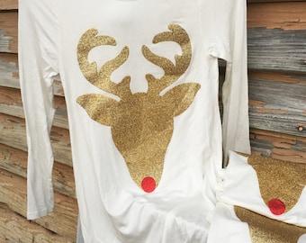Girls Christmas dress, SALE reindeer tunic dress
