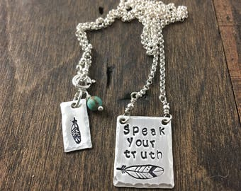 Speak Your Truth Sterling Silver Necklace, Feather Necklace, Boho Jewelry