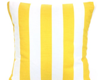 Yellow White Stripe Pillow Cover, Decorative Throw Pillows, Cushions, Corn Yellow White Stripe Canopy Couch Bed, One or More ALL SIZES