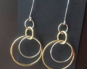 Silver and Brass Earrings. Stylish Mixed Metal Hoop Earrings, Jeweler's Brass Gold Look and 925 Sterling Silver Ear Wires.