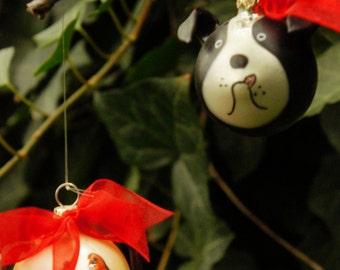 Vintage 90s Mercury Glass Dogs Christmas Ornaments