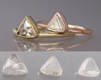 Custom Triangle Diamond Gold Engagement Ring, Choose your own Raw Macle Diamond