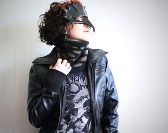 black knit cowl // wide headband // chunky knit scarf // black slouchy knit headband // black beanie hat // slouchy beanie // brown cowl