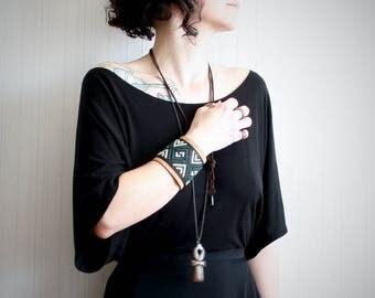 black leather arm cuff // wide leather cuff for women //cross stitch cuff bracelet // boho leather cuff // festival jewelry // southwestern