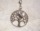Tree of Life, Bird in Tree, Pendant or Zipper Pull, Silver Plated, Tree with Bird Charm, Bird Charm, Dove