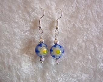 Blue Earrings, Millefiori Earrings, Blue and Yellow Flower Glass Bead, Italian Glass Earrings, Single Bead Drop Earrings, Clip ons Available
