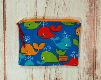 Snack Size Reusable Bag - Zipper Pouch - Sandwich Bag - Reusable Bag - Whales