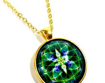 Emerald Green Necklace,  Green Mandala Necklace Pendant, Mandala Art Jewelry, New Age Jewelry, SMALL