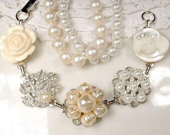 OOAK Vintage Wedding Pearl & Rhinestone Bridal Bracelet, Silver Cream Ivory Cluster Earring Bracelet, Bridesmaid Jewelry Rustic Chic Gift