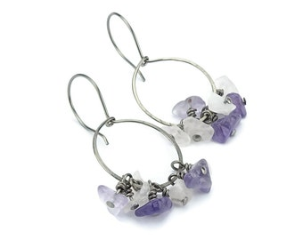 Amethyst and Rose Quartz Niobium Hoops Earrings, No Nickel Hypo Allergenic Earrings for Sensitive Ears, Pink and Purple Gemstone Chips