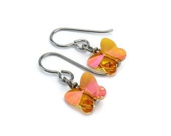 Titanium Earrings Orange Butterfly Crystal, Astral Pink Swarovski Crystal Butterfly Sensitive Ears Earrings for Girls, Orange Pink Earrings