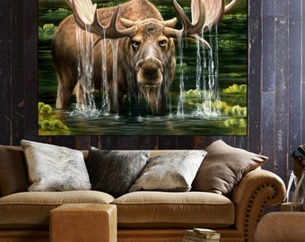 Moose painting, moose art, Canvas print, wall decor, wildlife painting, bull moose