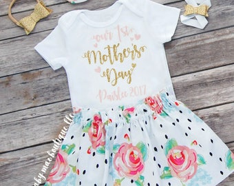 Happy Mothers Day Mommy Skirt Outfit; Baby Girl Mothers Day Outfit; Mothers Day Floral Skirt; Baby Barefoot Sandal; Gerber ® Onesies ® brand