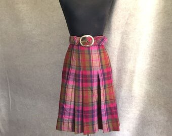 Vintage Plaid Skirt, Pink Plaid Skirt, Pink Pleated Skirt, 60s Skirt, Waist 28 Size Medium, SALE