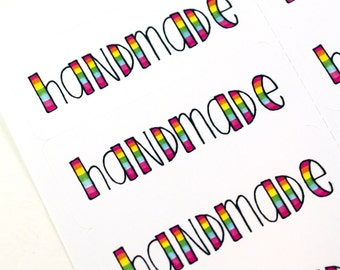Shop Exclusive HANDMADE stickers in rainbow lettering