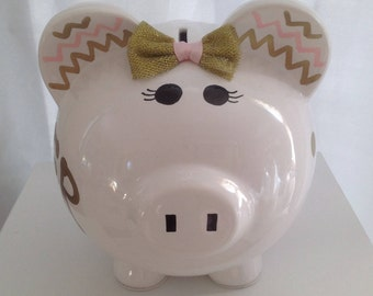 Personalized Large  Piggy  Bank Polka Dots and chevron pink and gold  - Baby Showers Christenings, Birthdays, 1st Communion