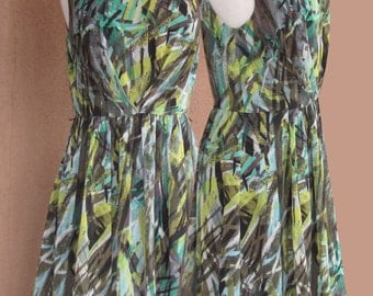 Sleeveless Sheer Green and Yellow Summer Dress