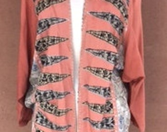 Vintage 80's - Peach rayon jacket with shoulder straps