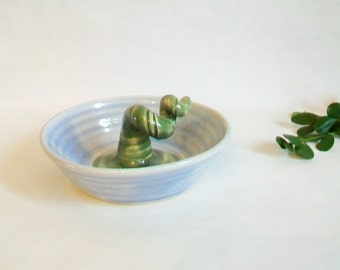 Trinket Dish - Lovely  Baby Blue  with a Green Stem  Growing Up  from the Center