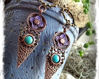 DHARMA Earrings Symbol jewelry Turquoise Purple patina EARRINGS jewelry Hoops long earrings Tribal Boho Gypsy Arrowhead earrings GPyoga