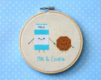 "Milk and Cookie cross stitch pattern: ""Cute kawaii milk carton and cookie"" - cross stitch pdf pattern, food cross stitch - INSTANT DOWNLOAD"