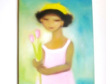 Gift for Mom from Daughter Girl with pink tulips Original oil on canvas painting of daughter all growing up cute preschool kid