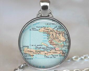 Haiti map necklace, Haiti pendant map jewelry adoption pendant adoption jewelry Haiti necklace brooch pin key chain key ring key fob