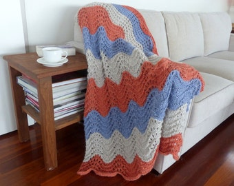 Knit Throw Hand Knit blanket Coral knit Afghan Multi colour chunky knit throw knee rug