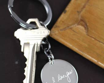 Custom Handwriting Keychain , Valentine's Gift for Him , Memorial Handwriting Jewelry, Handwriting Gift