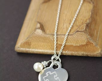Autism Awareness Necklace , Puzzle Piece Necklace , Autism Mom Necklace Personalized Custom Engraved Jewelry 925 Sterling Silver