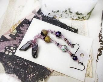 25 DOLLAR SALE Rustic Beaded Earrings - Long Mismatch Bead Earrings - Pink Wire Wrapped Links - Metallic Silver Quartz Points, Cloisonné