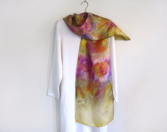 Silk Scarf Hand-Painted on Silk Satin, Golds, Rose, Lavender, Luxurious