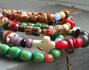 Tribal.2 - 4 bracelet stack set - agate, coconut, glass, red black stone, coral, stamped metalwork tags, African beaded stretch bracelets