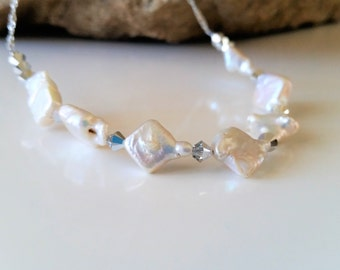 White Freshwater Pearl Necklace - Pearl Necklace, Beach Wedding Jewelry