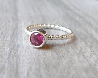 Sterling silver Cubic zirconia ring stacking gemstone ring sterling silver ring beaded band, bezel ring tube set lab pink ruby ring CZ ring