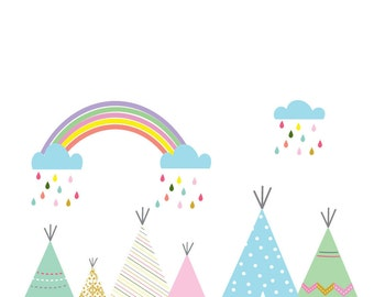 teepee wall decals, rainbow wall decals, cloud wall decals, nursery teepee decals, girl teepee decals