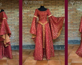 Cremisi, fantasy medieval celtic wedding dress, brocade cotton, embroidered, custom made