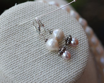 Genuine Freshwater Droplet Pearl Earrings w Bali Sterling Silver Beads Champagne Pearls Sterling Ear Clasps