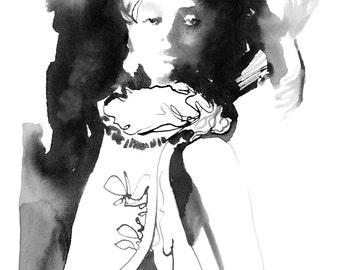 Print of Fashion Painting, Fashion Illustration, Fashion Painting, Fashion Art, Watercolor Fashion, Versailles, Costume Illustration