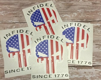 Yeti Cup Decal, Infidel, Punisher skull decal, Military decal, American Flag Punisher skull, mens yeti decal, birthday gift, ozark decal