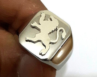 925 Silver Lion of Judah Jerusalem  Ring