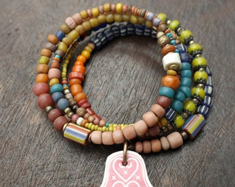 Spicey Colors Stack - Memory Wire Beaded Bracelets