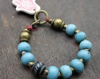 True Blue Naga Beads - Boho Bracelet - Vintage Trade Beads - Nepal