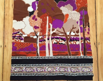 Vintage 1970s Fabric Pieces, Abstract Trees Border Print, Orange Purple Brown Black, Velvety-soft Texture, Psychedelic Design, Long Strips