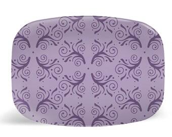 Lavender melamine platter, large serving dish, serving tray, flourish pattern serving platter, dinner platter, serving plate, purple