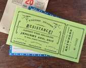Ticket to the Resistance Letterpress Card Anti-Trump Ephemera