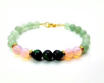 Mens Mixed Emotion Bracelet, Mens Green Aventurine, Green Tigers Eye and Opalite Bracelet